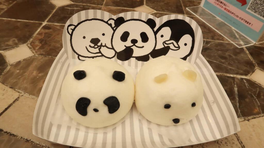 パンダと白くまをモチーフにした中華まん